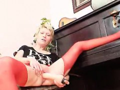 Blonde mature in red...