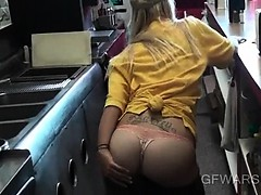 Blonde banged from her back...